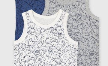 Dinosaur Print Vests 3 Pack
