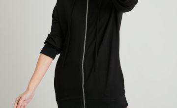 Black Longline Zip-Through Hoodie