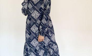 Blue Patchwork Tiered Dress