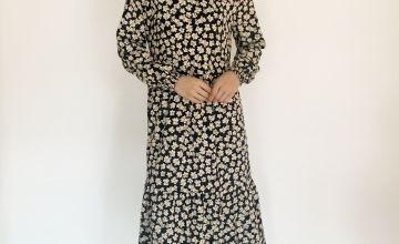 Black Floral Print Tiered Dress