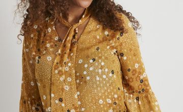 Yellow Floral Shimmer Pussybow Blouse
