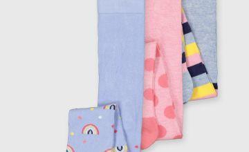 Rainbow Stripe & Spot Tights 3 Pack