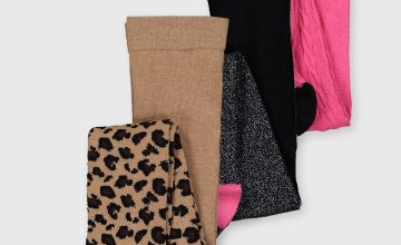 Leopard, Sparkle & Cable Knit Tights 3 Pack