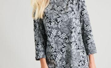 Grey Floral Brushed Shift Dress