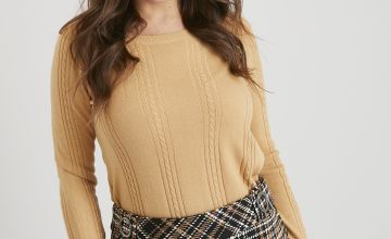 Yellow Soft Touch Cable Knit Jumper