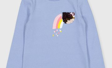 Blue Rainbow Patch Long Sleeved Top