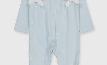 Blue Daisy Print Sleepsuit