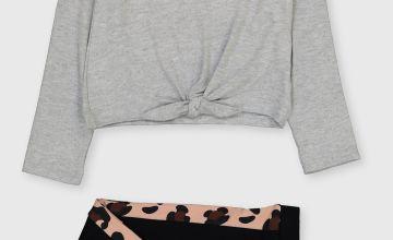Grey 'Cool' Slogan Top & Leggings Set