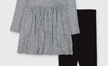Grey Wrapover Dress & Leggings Set