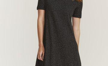 FATFACE Black Mini Spot Print Dress
