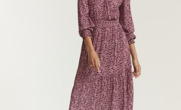 FATFACE Berry Woodblock Bonnie Midi Dress