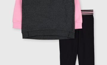 Pink Chevron Sweatshirt & Leggings Set