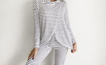 Grey Striped Pyjama Joggers
