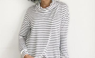 Grey Stripe Wrap Pyjama Top