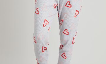 Grey Ribbed Heart Print Pyjama Bottoms