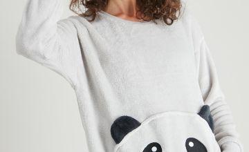 Grey Panda Fleece Pyjama Top