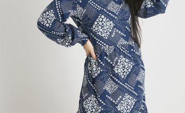 PETITE Blue Patchwork Tiered Dress
