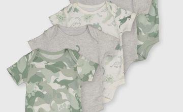 Khaki Camo Dinosaur Bodysuit 5 Pack