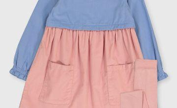 Colour Block Corduroy Dress & Tights