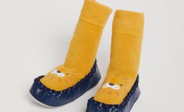 Orange Lion Moccasin Slipper Socks