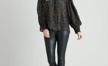 Black & Gold Foil Spot Shirred Blouse