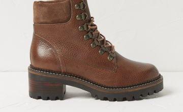 FATFACE Tan Leather Heeled Hiker Boots