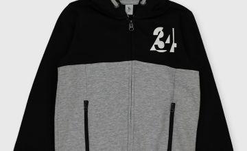 Black & Grey Colour Block '34' Hoodie