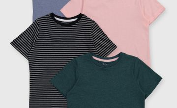 Green, Stripe, Pink & Blue T-Shirts 4 Pack