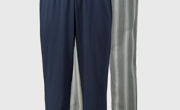 Plain Navy & Stripe Pyjama Bottoms 2 Pack