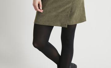 Khaki Faux Suede Wrap Mini Skirt
