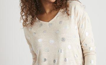 Oatmeal Metallic Spot Print Soft Touch Pyjama Top