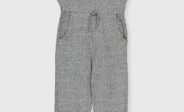 Grey Ribbed Jersey Jumpsuit