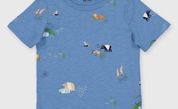Blue Animal Detail T-Shirt