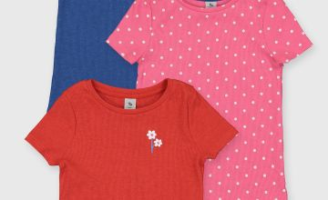Pink, Blue & Red Ribbed T-Shirts