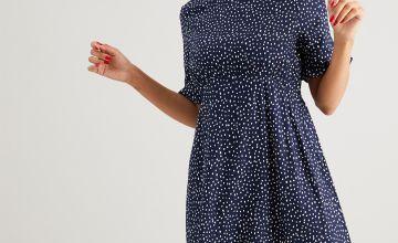 Navy Spot Print Tea Dress