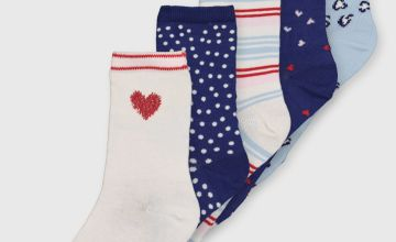 Assorted Pattern Ankle Socks 5 Pack - 4-8