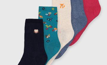 Woodland Animal Mixed Socks 5 Pack - 4-8