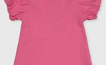Pink Woven Sleeve T-Shirt