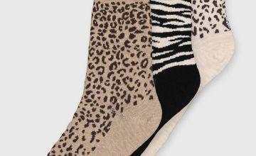 Animal Pattern Ankle Socks 3 Pack - 4-8