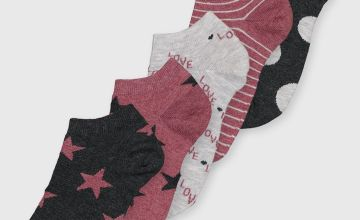 Grey & Mauve 'Love' Star Trainer Sock 5 Pack - 4-8
