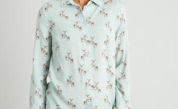 Deer Print Button-Through Western Shirt