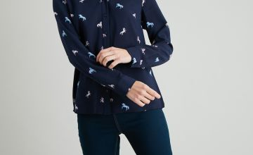 Navy Unicorn Print Western Shirt