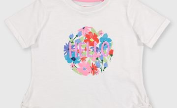 White 'Hello' Floral T-Shirt