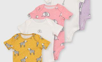 Safari Animal Print Bodysuit 5 Pack