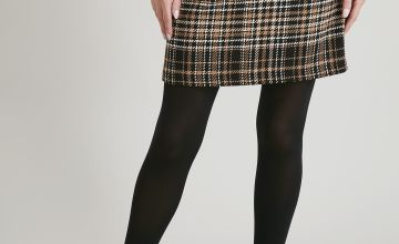 Brown Houndstooth Check A-Line Skirt