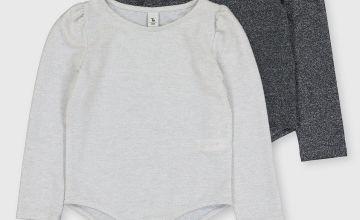 Grey Glitter Bodysuits 2 Pack