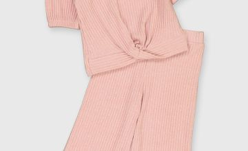 Pink Ribbed Jersey Culottes & Top Set