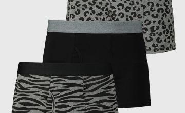 Black & Grey Animal Print Trunks 3 Pack