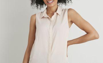 Pink Stud Detail Sleeveless Shirt