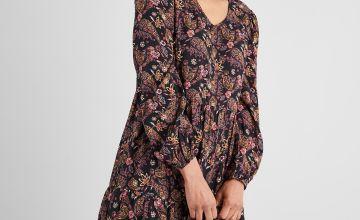 Floral & Paisley Print Tiered Folk Dress